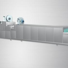 YZ-605清洗、烘干、消毒一体型商用洗碗机网带平放式