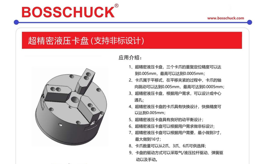进口BOSSCHUCK超精密液压卡盘、卡爪具有快换设计