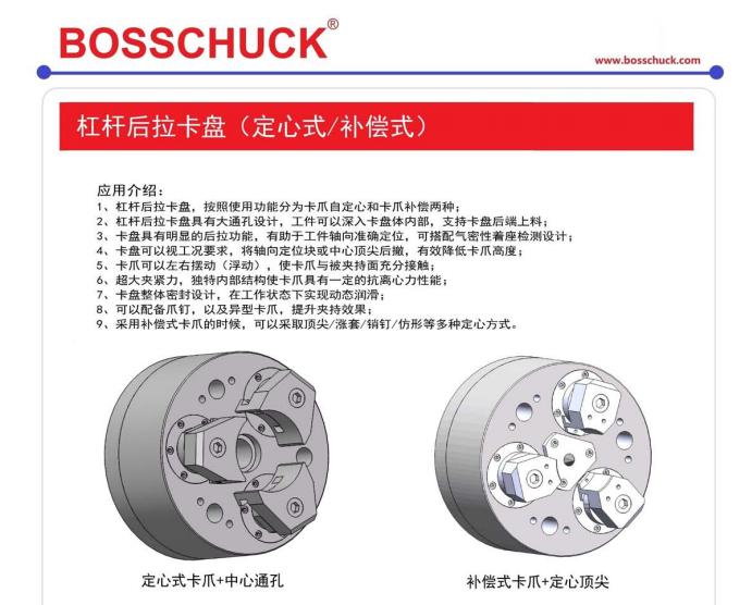 原装进口BOSSCHUCK杠杆后拉卡盘定心、补偿结构解决方案