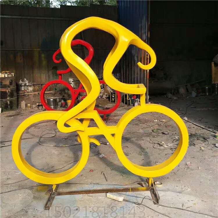 安康抽象骑自行车雕塑 园林景观人物摆件