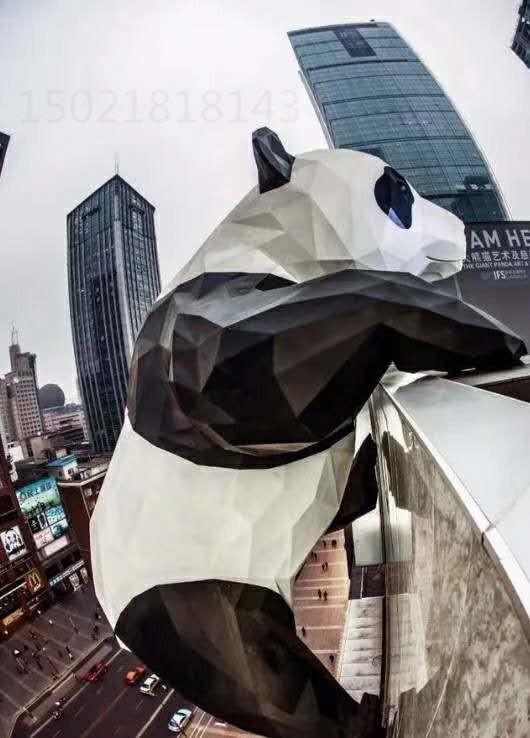 扬州商场门头熊猫山茶花组合雕塑图