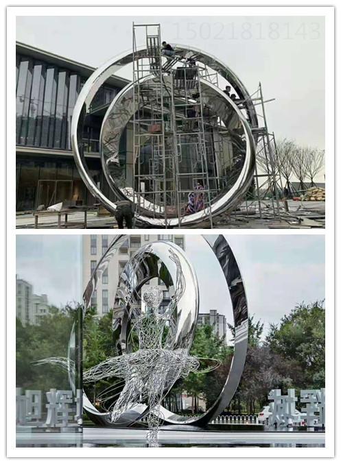 杭州主题街区 旋转圆环雕塑 水景灯光雕塑作品图